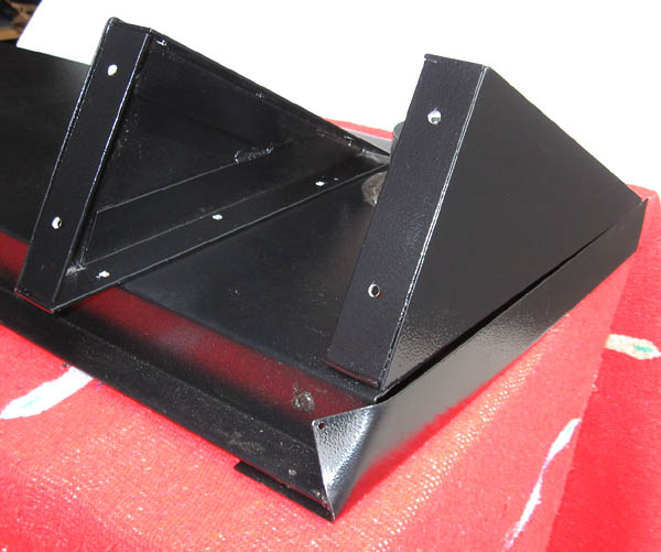 Dual angled panel back supports--one mounted on panel, the other sits on back of panel