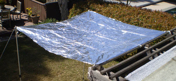 SolaReflex 8' x 8' Cooltarp attached to patio cover